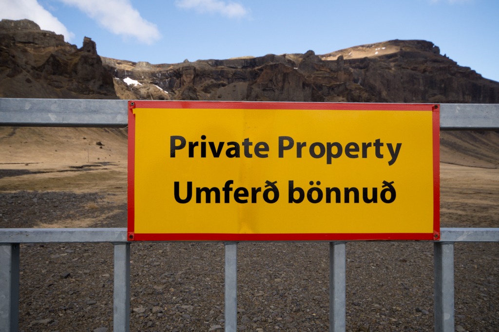 Private Property sign in English and Icelandic