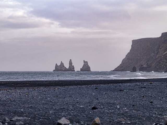 Reynisdrangar seen from the beach in Vík