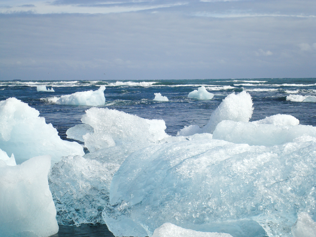 Icebergs floating in the Atlantic Ocean