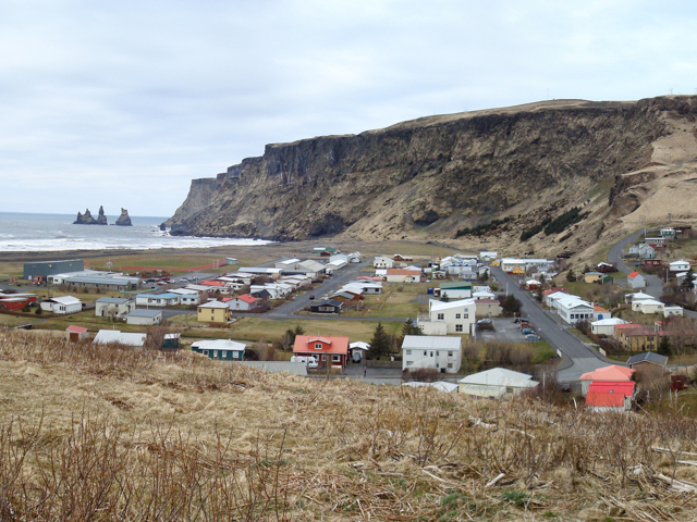 Vík with Reynisdrangar sea stacks in the background