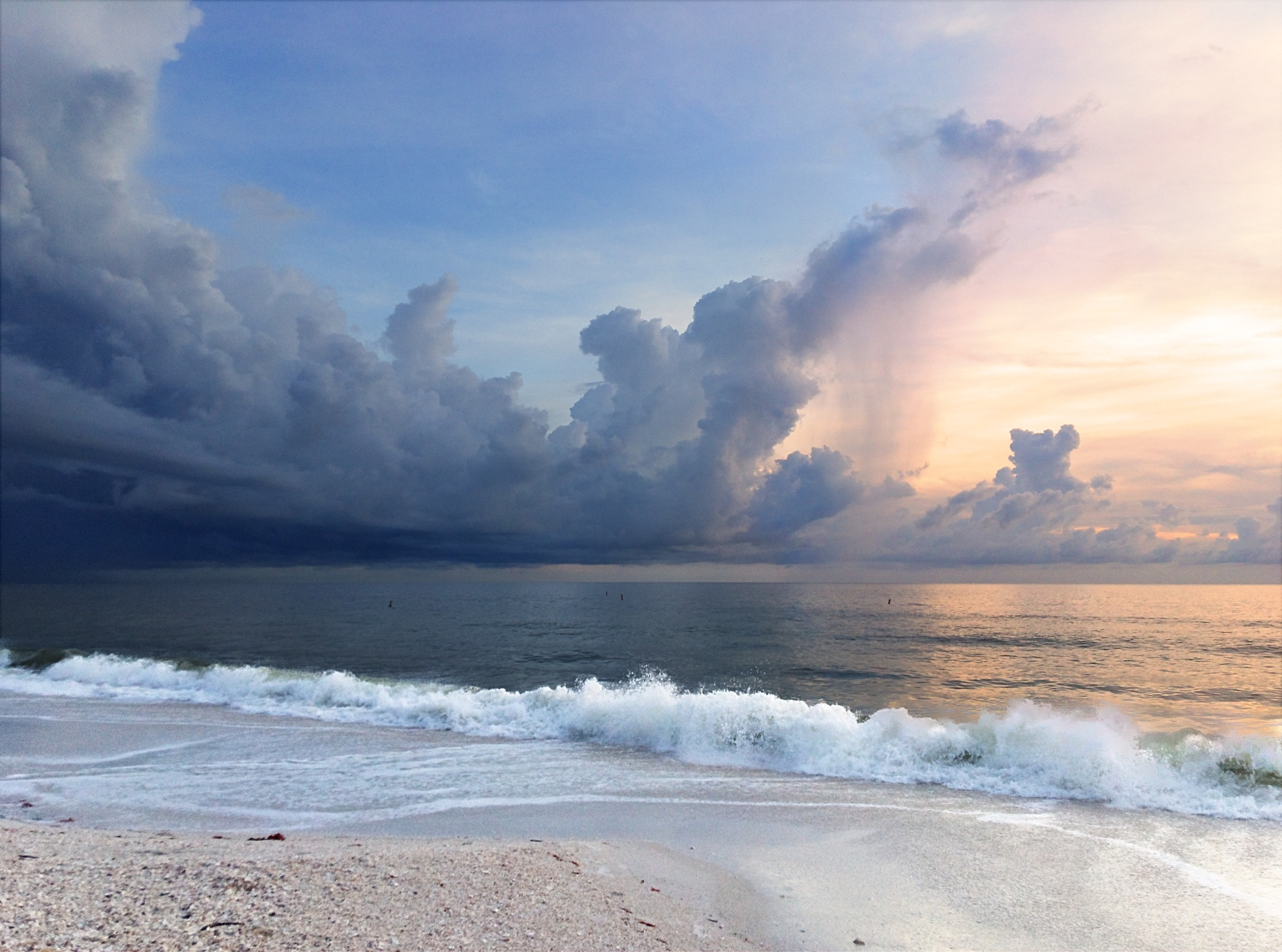 Sunset and storm over the Gulf of Mexico