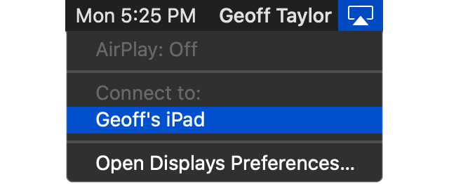 Name of device in AirPlay menu